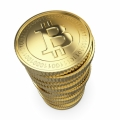 Golden stack of Bitcoin digital currency