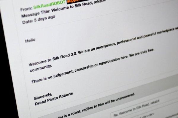 Всем новым пользователям Silk Road 3.0 приходит сообщение с приветствием от Ужасного Пирата Робертса.