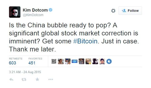 Текст скриншота: неужели китайский пузырь вот-вот лопнет? Грозят ли нам существенные изменения на рынке акций? Просто скупайте #Bitcoin. Потом скажите спасибо.