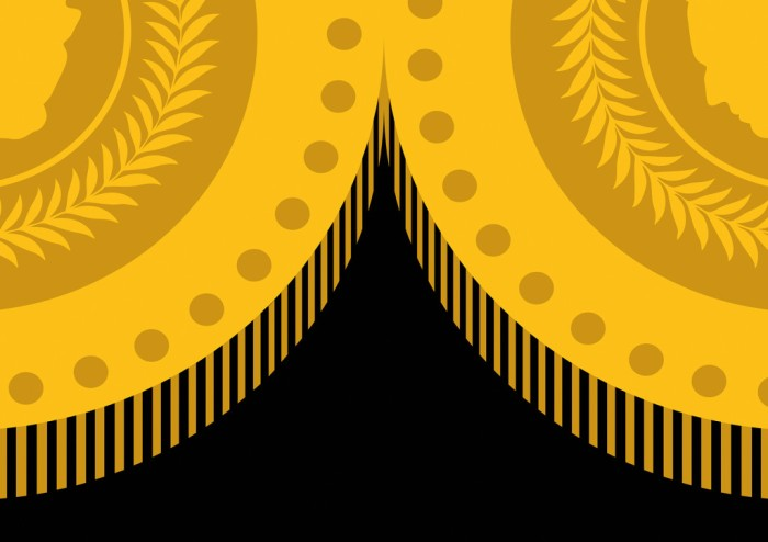Close up of edge of gold coins forming stage curtain