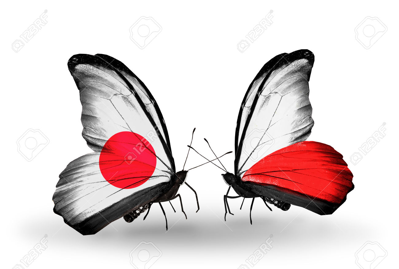 Two butterflies with flags on wings as symbol of relations Japan and Poland